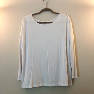 White Long Sleeve Piko Dupe Top From Tobi
